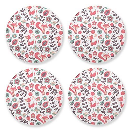 Posavasos para bebidas absorbentes – Spring Fox - Alfombra de madera natural con respaldo de corcho (juego de 4 piezas) 10,4 cm para regalos de inauguración de la casa