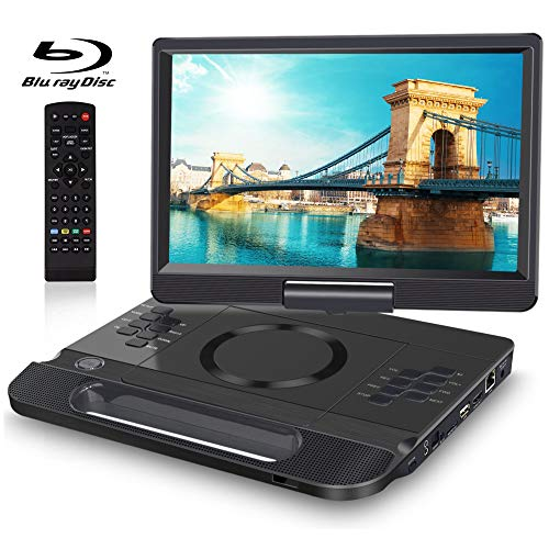 """FANGOR 13.3 Inch Portable Bluray Player with 12"""" HD Swivel Screen, 5 Hours Rechargeable Battery and Remote Control, HDMI Out/AV in, Multi-Media Player, USB/SD Card, Last Memory, Region Free"""