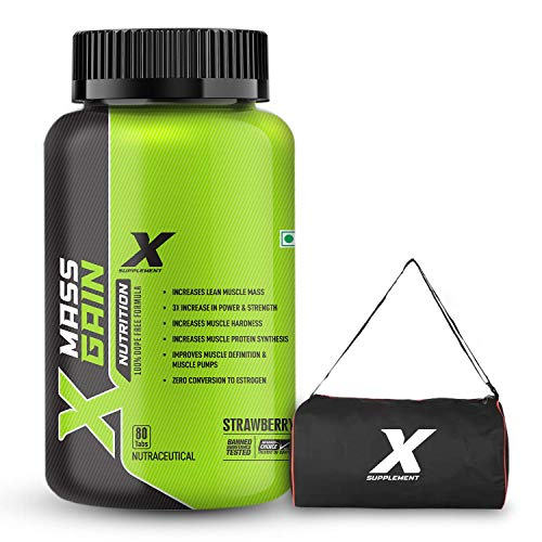 X Supplement Mass Gain 3X Pure Lean Muscle Mass Gainer with Creatine Monohydrate, AAKG, Ashwagandha, Glutamine For Muscle Pump, Protein Synthesis, Strength, Power, Endurance, Energy & Muscle Hardness | 80 Tablets, Strawberry | Free Gym Bag