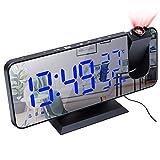 Projektionswecker, Led Digital Wecker mit Projektion 180 °, Radiowecker mit Funkuhr FM Radio, USB-Anschluss, großem LED-Anzeige Snooze Dual-Alarm Spiegelwecker für Schlafzimmer Büro