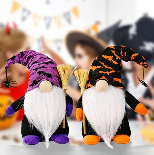 Coyf Juego de 2 decoraciones hechas a mano para Halloween, gnomos suecos Tomte con escoba y araña, estante de elfo de felpa, figuras coleccionables, decoración de Navidad, 22 cm