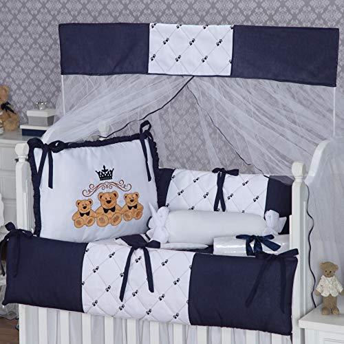 Kit Berço Menino Ursos Baby Azul Marinho Pingo de Gente 9 Peças