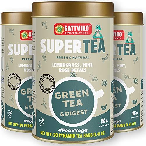 Sattviko Green Tea Digest, Premium Detox DigestiveTea for women and men | Lemongrass, Rose Petals tea | Bloating, Constipation Relief | Ayurvedic Blend Tea | Foodyoga - 3 Jars, 60 Pyramid Tea Bags (20x3)