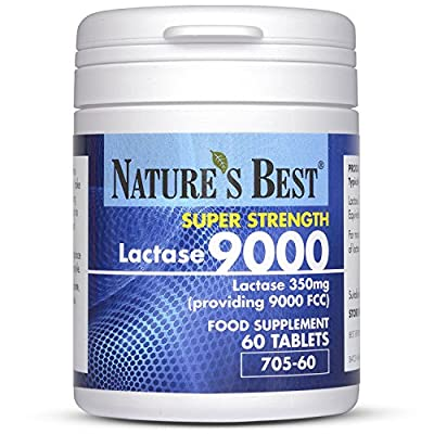 Super Strength Lactase Tablets 9000 FCC Enzyme Units | Maximum Strength Enzyme | 60 Tablets: 1 month's Supply | Helps Digest Lactose in Milk & Dairy | UK Made