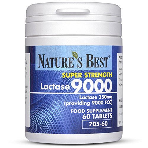 Nature's Best Lactase 9000 FCC Enzyme Units - Maximum Strength Enzyme - 60 Tablets - Helps Digest Lactose in Milk & Dairy - UK Made