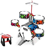 DBAF Kids Drum Set,Drum Toys Large Drums Children's Beginners Toys Little Boys and Girls Jazz Drums Percussion 3-6 Years Old (Color : Black) Beginners Drum Kit Set