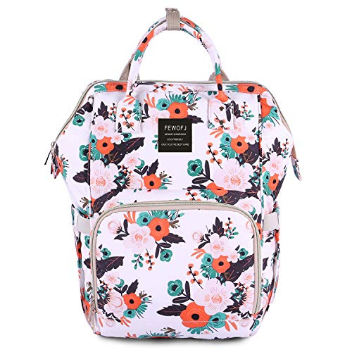Floral Diaper Bag Backpack, Women Waterproof Travel Nappy Bag for Baby Care