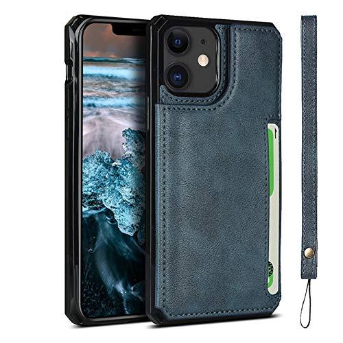 Zouzt Compatibile Custodia a Portafoglio per iPhone 12/12 PRO con Cinturino Portamonete Custodia in Pelle PU Premium Cavalletto, Cover per con Cordino per iPhone 12/12 PRO Blu