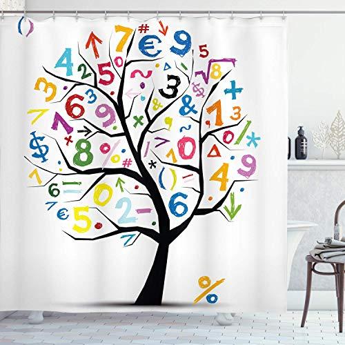 N / A Mathematik Klassenzimmer Duschvorhang, Baum mit bunten Zahlen Math Funny Kids Zeichnung, Stoff Stoff Badezimmer Dekor Set mit Haken, Holzkohle