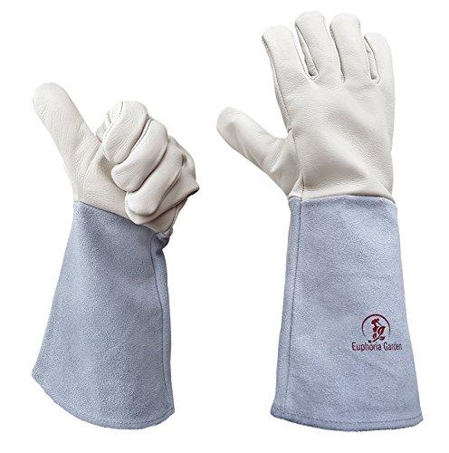 Rose Gardening Gloves by Euphoria - Cowhide Leather Garden Gauntlet Gloves - Puncture Resistant Work...