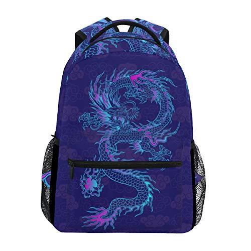 Blueangle Colorful Custom Purple Chinese Dragon Printing Computer Backpack - Lightweight School Bag