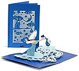 Glückwunschkarte zur Geburt mit extra Seite für Grüße - hochwertige Karte für Junge - blaue 3D Pop-Up Geburtskarte für Jungen mit Storch & Baby zur Gratulation