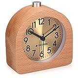 Navaris Réveil analogique en Bois - Horloge à Aiguilles Classique avec Fonctions Heure Alarme Snooze lumière - Cadran...