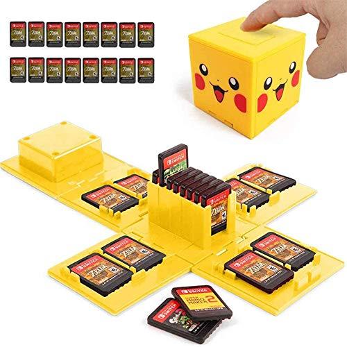 Boîte de Rangement pour Carte Mémoire, de Protection Organisateur de Carte, Nintendo Switch Card Box avec 16 Emplacements, Cube de Stockage pour Nintendo Switch Carte de Jeu (Pikachu Jaune)