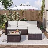 Conjunto de muebles de jardín de polirratán con cojines de asiento y respaldo, mesa con tablero de cristal (marrón)