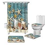 ZGDPBYF 4-Teiliges Duschvorhang-Set Ocean Sea Star Conch Strand-Duschvorhang-Sets rutschfeste Teppiche Toilettendeckelabdeckung Und Badematte Badvorhänge-4-Teiliges Set