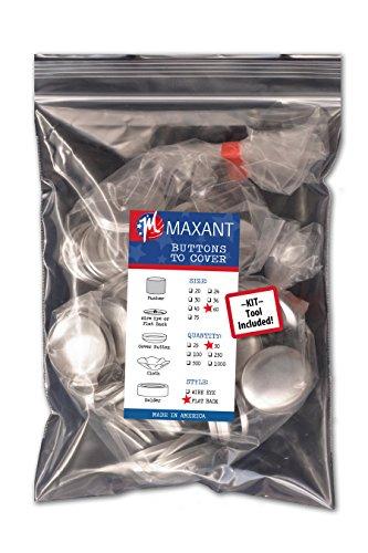 Botones para forrar, fabricados en EE.UU, botones para forrar por ti mismo con respaldo plano - Size 60 Flat - Qty 50