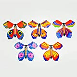 LuFOX 10 Pieces Magic Fairy Flying Butterfly Rubber Band Powered Wind up Butterfly Toy for Surprise Gift or Party Playing