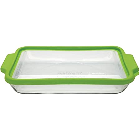 Anchor Hocking TrueFit Bakeware Glass Casserole Dish with Cover and Storage Lid 3-Piece Set Green