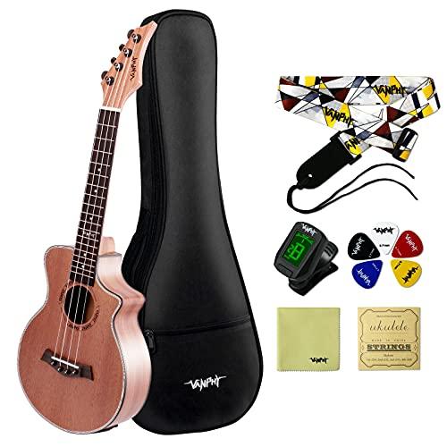 VANPHY Ukulele Concert Electric Ukulele 23 Inch Sapele Ukelele Starter Bundle Kit with Gig Bag Strap...