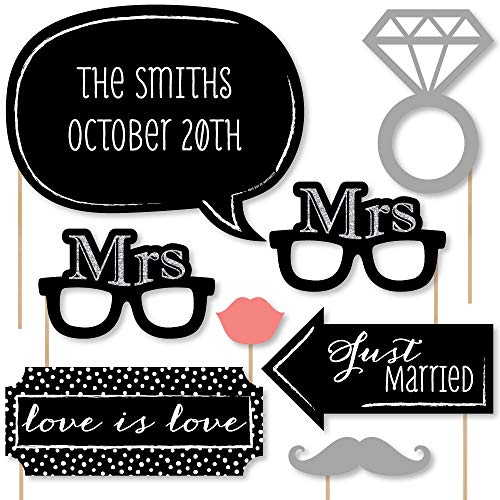 Custom Mrs. & Mrs. - Silver - Lesbian Wedding LGBTQ Photo Booth Props Kit - Personalized Lesbian Wedding Decorations - 20 Selfie Props