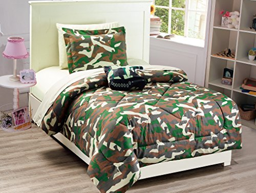 Mk Collection 6 PC Kids/Teens Twin Size Tank Army Camouflage Military Green Brown Beige Light Brown Comforter And Sheet Set With Furry Buddy Included New