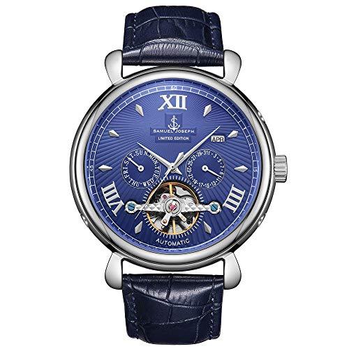 Samuel Joseph Limited Edition Steel & Blue Automatic Designer Heren Horloge - Met de hand gemonteerd - Skeleton Case, 20 Juwelen en Een Luxe Echt Lederen Band - Ronde Hoesje - Waterbestendig