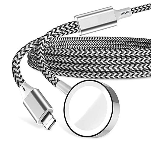 Cargador 2 en 1 para iWatch SE/6/5/4/3/2/1, cargador portátil inalámbrico magnético, cable de carga de reloj trenzado de nailon compatible con Apple Watch de 44 mm/40 mm/42 mm/38 mm (negro)