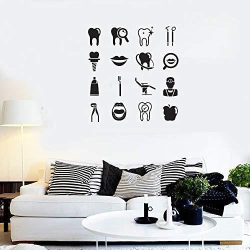 JXCDNB Zahnbürste Wandaufkleber Zahnbürste Zahnpasta Dental Instrumente Zahn Werkzeuge Aufkleber Kunst Wohnkultur Wohnzimmer Tapeten 56x56cm