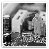 Impresionantes pegatinas cuadradas (juego de 2) 10 cm BW – divertido ingeniero tecnológico geek computadora broma divertido calcomanías para portátiles, tabletas, equipaje, reserva de chatarras, frigoríficos, regalo fresco #43626