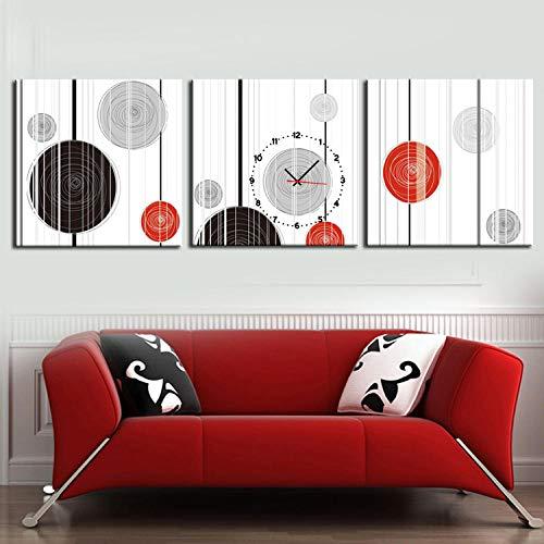 WFQGZ wandbild mit Uhr Rahmenlose Malerei Moderne Wohnzimmer Esszimmer Dekoration Malerei Uhr Leinwand Malerei Triple Wanduhr abstrakte Kreis Serie -60X60CM-Faltblatt1840