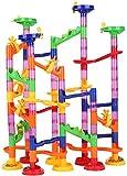ZJchao 105 Piezas de Juegos de Pelota Maze Ball Slide Juego de construcción para niños, Juego de Carreras de mármol Multicolor con canicas de Vidrio y elemen