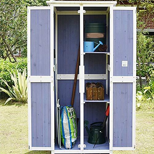 51GvQdX6hXL - Außen Locker Balkon Hof Garten Massivholz-Lagerschrank wasserdichte Sonnenschutz Ideale Aufbewahrungsbox für den Außenbereich (Farbe : Blau, Size : 77x58x175cm)