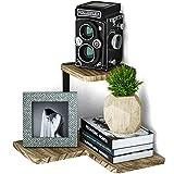 SRIWATANA Rustic Corner Shelf, 2-Tier Wood Wall Shelf, Wall Mounted Storage Shelves for Bedroom, Living Room, Bathroom, Carbonized Black