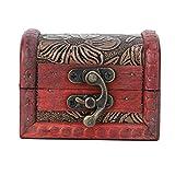 SALUTUYA Vintage Holzkiste Holzschmuckschatulle 3.2 * 2.6 * 2.4in Vintage-Stil, zur Aufbewahrung von...