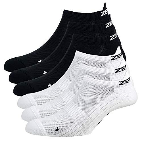 Zen Core Sneaker Füßlinge 6 Paare, Größe 40-43 und 44-47 für Herren, kurze Socken, Sport&Freizeit, Laufsocken, Fitness, Fahrradfahren, Running Socken, Atmungsaktiv, Gepolstert, Antiblasen