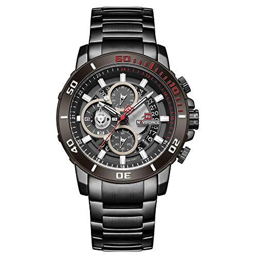 Relojes de Pulsera de Cuarzo analógico con Fecha Impermeable de Cuarzo para Hombre-B