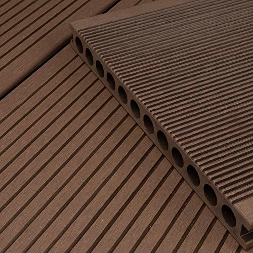 HORI® WPC-Terrassendiele Braun XXL Hohlkammer Diele I Komplettset inkl. 40x60 mm Unterkonstruktion & Clips I Fläche: 1 Muster I Muster Dielenlänge