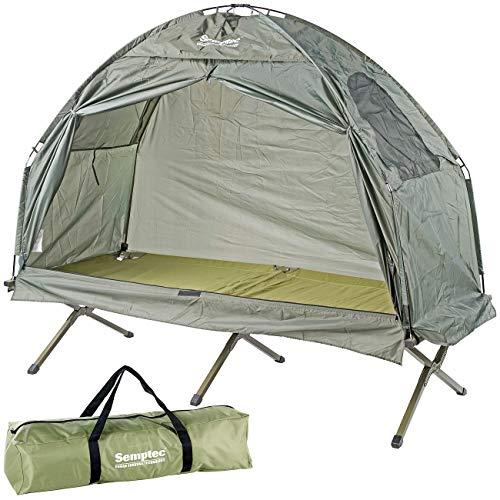 Semptec Urban Survival Technology Campingbett-Zelt: 2in1-Zelt mit Alu-Feldbett, 1200 mm Wassersäule, 193 x 78 x 160 cm (Feldbettzelt)