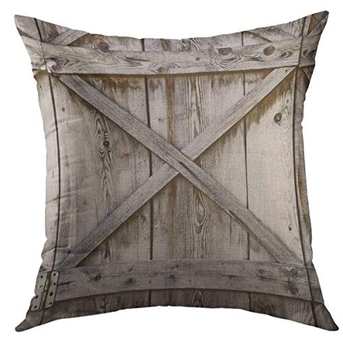 Mugod Decorative Throw Pillow Cover for Couch Sofa,Door Plank Wooden Wall of Old Barn Wood Home Decor Pillow case 18x18 Inch