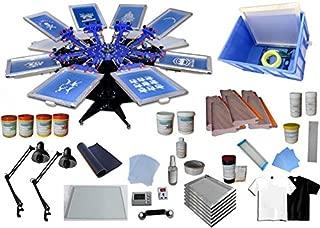 Techtongda Screen Printing Kit Press 8 Color Silk Screen Printing Machine Screen Printing Press 8 Color 8 Station Double Spring T-shirt Press DIY