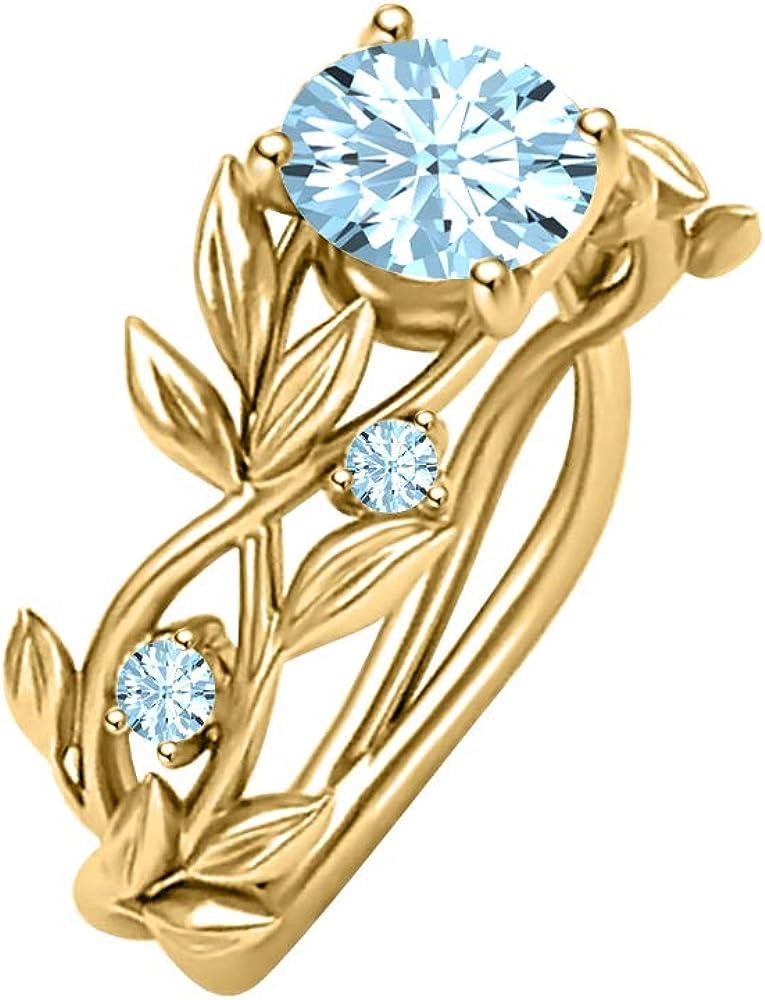 Gold Diamonds Jewellery Super sale 2ctw Aquamarine 67% OFF of fixed price Band Wedding Leaves Ri