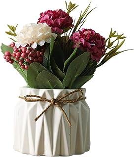 comprar comparacion AZXAZ Flores Hortensia Artificiales con Macetero,Ramo de Flores de Seda Artificiales con Jarron de Cerámica para de Bodas,...