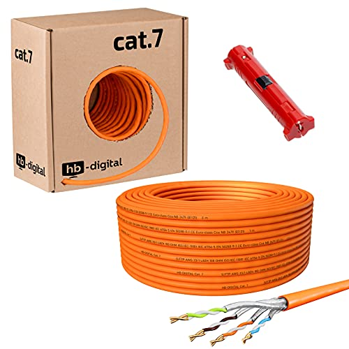 HB-DIGITAL 50 m Cable de red LAN, cat. 7, cobre profesional, incluye...