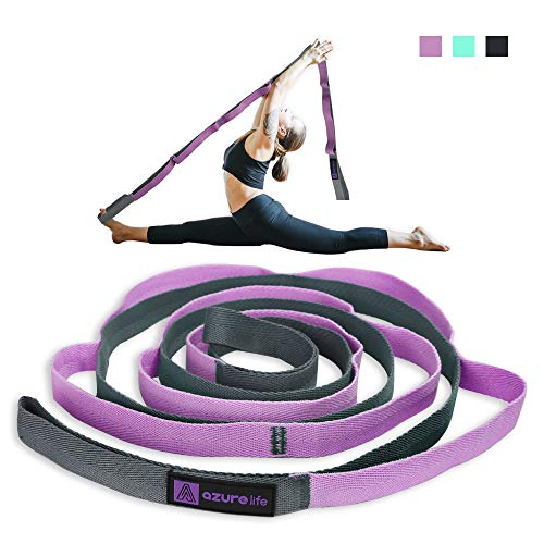 A AZURELIFE Premium Stretch Strap/Yoga Strap(1' W x 84' L), 10 Loops Non-Elastic Yoga Strap for Stretching, Perfect Multi-Loop Exercise Stretch Band for Rehabilitation, Flexibility, Hamstring&PT
