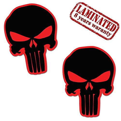 SkinoEu 2 x Vinyl Decal Self-Adhesive Stickers The Punisher Skull Emblem Decoration Accessories Car Van Bumper Window Door PC Tablet Laptop Auto Moto Motorcycle Helmet Bike Truck Racing Tuning B 19