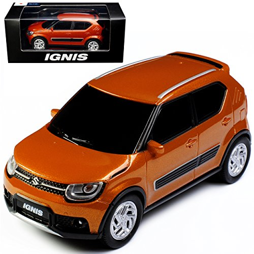 Unbekannt Suzuki Ignis 5 Türer Orange 3. Generation ab 2017 1/43 Modellcarsonline Modell Auto mit individiuellem Wunschkennzeichen