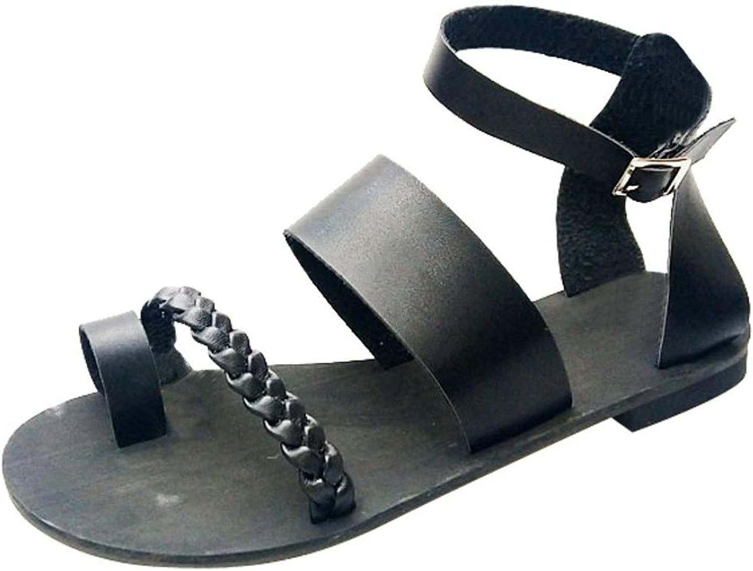 MEIZOKEN Womens Ankle Buckle Strap Sandals Soft PU Leather Clip Toe Summer Beach Thong Flats Sandals