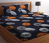 HIYANSHI HOME FURNISHING Glace Cotton King Size Grey Design Double Bedsheet 180 TC with 2 Pillow...