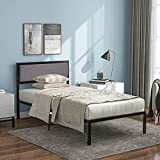 Pannow Estructura de cama de metal de 3 pies con cabecero tapizado, cama de plataforma para adultos y niños, color negro